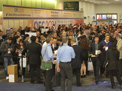 The show floor crowd at OFC 2014.