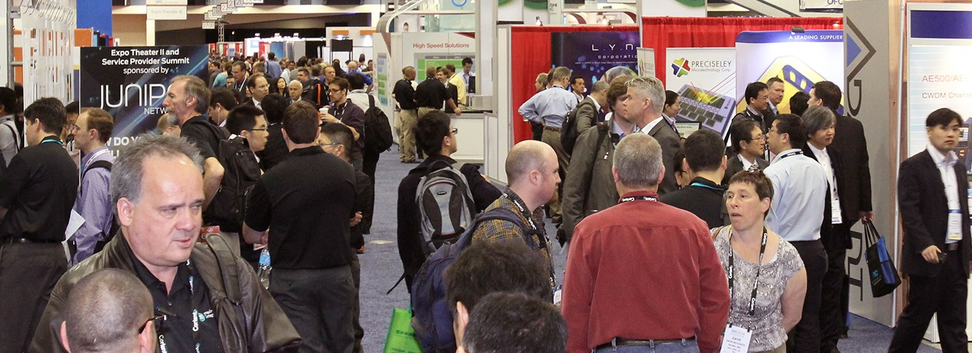 OFC exhibit hall interactions. Register for the Exhibits Pass Plus option.